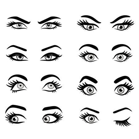 Set of cartoon eyes. isolated decorative eyes icons. vector illustration of woman eyes. different eyes expressions. woman isolated vector eyes and eyebrows silhouette, face parts,