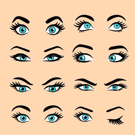 Set cartoon ogen. geïsoleerde decoratieve ogenpictogrammen. vectorillustratie van vrouw ogen. verschillende ogenuitdrukkingen. vrouw geïsoleerd vector ogen en wenkbrauwen silhouet, gezicht delen,