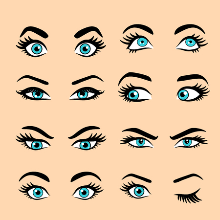 Set of cartoon eyes. isolated decorative eyes icons. vector illustration of woman eyes. different eyes expressions. woman isolated vector eyes and eyebrows silhouette, face parts, Stok Fotoğraf - 82662176