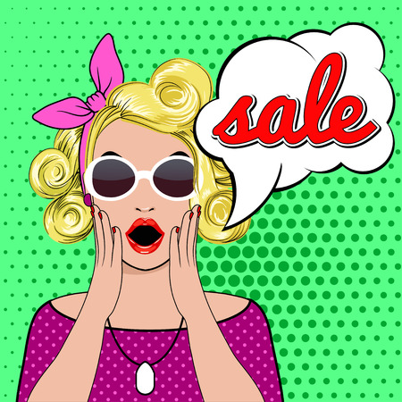 Pop art surprised blond woman face with SALE sign. Vector illustration of SALE. Pop art illustration surprised shopping girl. Woman in Pop Art style with SALE sign. girl in sunglasses with SALE bubble