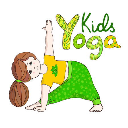 Happy girl in Trikonasana. Hand draw Illustration for Yoga kids. girl in Triangle Pose. Vector illustration for children yoga. Logo kids yoga.. Drawing yoga pose. Childrens healthy lifestyle.