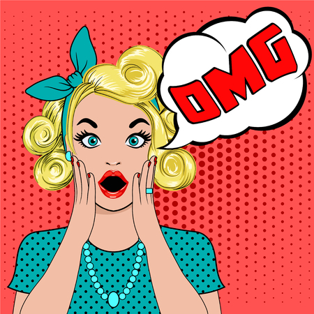 OMG-bellenpop-art verraste blond vrouwengezicht met open mond. Grappige vrouw met tekstballon OMG. Vectorillustratie van wow gezicht. Pop art verrast meisje. Vrouw in Pop-artstijl met OH MIJN GODteken.