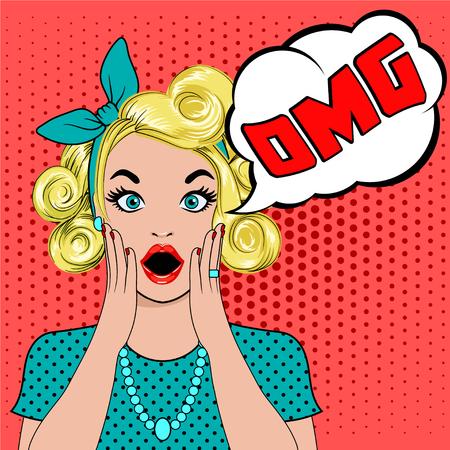OMG bubble pop art a surpris la femme blonde face à la bouche ouverte. Comic femme avec bulle de parole OMG. Illustration vectorielle de wow face. Pop art surprise fille. Femme dans le style Pop Art avec OH MY GOD sign. Vecteurs