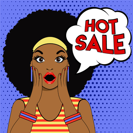 Pop art surprised afro american woman face with open mouth. Pop art illustration surprised girl. Hot sale vector. Woman in Pop Art style with Sale sign. SAle bubble pop art surprised woman face.