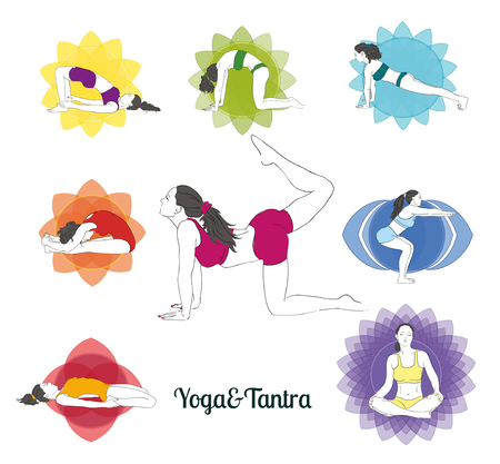 Colored yoga poses  and chakras set, hand-drawn image. Collection of asanas.