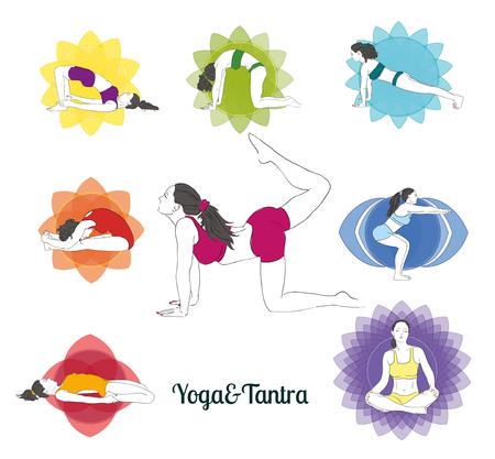 Colored yoga poses  and chakras set, hand-drawn image. Collection of asanas.
