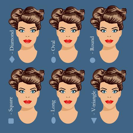 別の女の顔の形のセットです。女性の顔型。形女性顔 - 正方形、三角形、円、楕円、ダイヤモンド、長い。株式ベクトル イラスト。  イラスト・ベクター素材