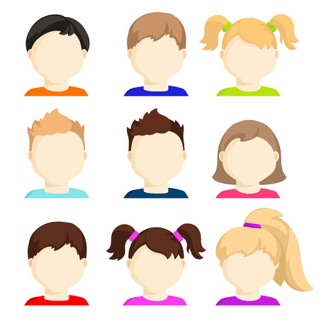 Vector set of child face icons. Kids faces. Stock vector illustration. Avatars of boys and girls faces