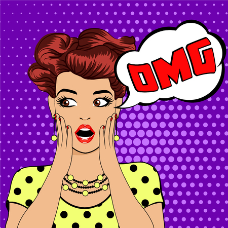 OMG bubble pop art surprised woman face with open mouth. . Vector illustration of surprised girl with speech bubble OMG. Woman in Pop Art style with OH MY GOD sign. Illustration