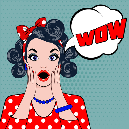 Pop art surprised young woman face with open mouth. Vector illustration of wow face. Pop art illustration surprised girl. Woman in Pop Art style with WOW sign. WOW bubble pop art surprised woman face.