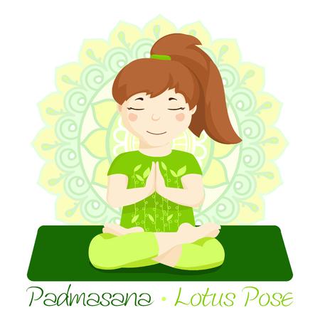 girl in Padmasana with mandala background. Hand draw Illustration for Yoga kids. girl in Lotus Pose. Cute girl doing yoga. Illustration for children yoga. girl in meditation