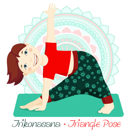 Cartoon girl in Triangle Pose with mandala background. Hand draw Illustration for Yoga kids. girl in Trikonasana. Cute girl doing yoga. Illustration for children yoga Illustration