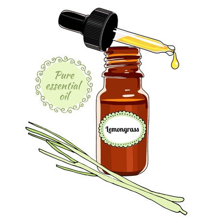 Bottle of Lemongrass essential oil with dropper.