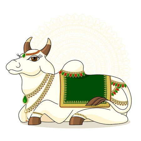 illustration of Indian sacred cows. vector of indian holy cow ON MANDALA BACKGROUND Çizim