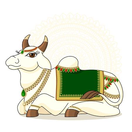 illustrazione delle mucche sacre indiane. vettore della mucca santa indiana SU PRIORITÀ BASSA DEL MANDALA