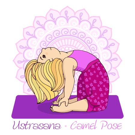 Cartoon girl in Camel Pose with mandala background. Hand draw Illustration for Yoga kids. girl in Ustrasana. Cute girl doing yoga. Illustration for children yoga Ilustração