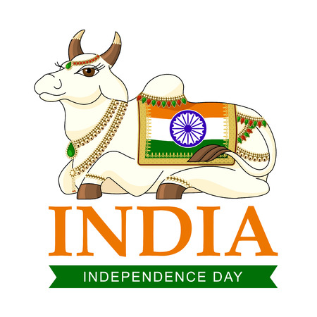 Illustration of famous Indian holy cow with blanket saffron and green color for Independence Day celebration. Vector of decorated Indian Holy Cow. Banner for Indian Independence Day. Indian flag.