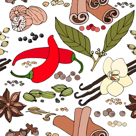 Seamless pattern of spices. Colored pattern of spices. . Food background. Spices background. Hand-drawn pattern of spices. Vector pattern of spices. Pattern for spice label.