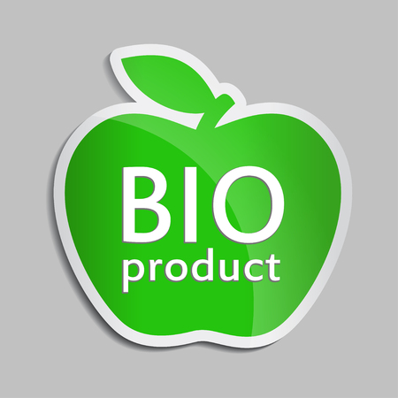 Green apple BIO logo. flat vector bio icon for web design, stock vector. For packaging design, advertising booklets, Bio logo creation, natural product design. Organic natural cosmetic and food label.