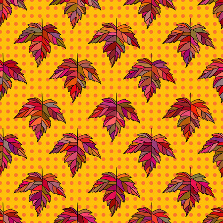 Autumn seamless stylized leaf pattern. Seamless decorative template texture with leaves. Bright colorful abstract seamless stylized pattern with leaves on dots background . 向量圖像
