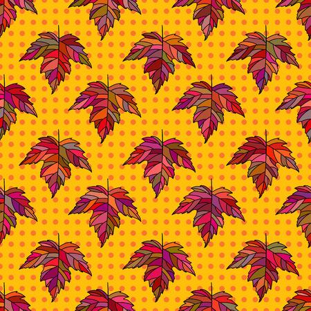 Herfst naadloze gestileerde blad patroon. Naadloze decoratieve malplaatjetextuur met bladeren. Helder kleurrijk abstract naadloos gestileerd patroon met bladeren op puntenachtergrond.