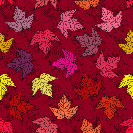 Autumn seamless stylized leaf pattern. Seamless decorative template texture with leaves. Bright colorful abstract seamless stylized pattern with leaves. 向量圖像