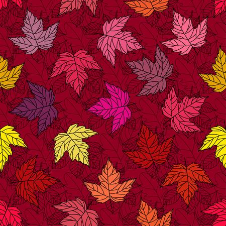 Herfst naadloze gestileerde blad patroon. Naadloze decoratieve malplaatjetextuur met bladeren. Helder kleurrijk abstract naadloos gestileerd patroon met bladeren.