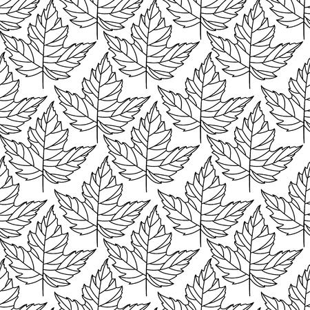 Herfst naadloze gestileerde blad patroon. Naadloze decoratieve malplaatjetextuur met bladeren. abstract naadloos gestileerd patroon met bladeren op een witte achtergrond Stock Illustratie