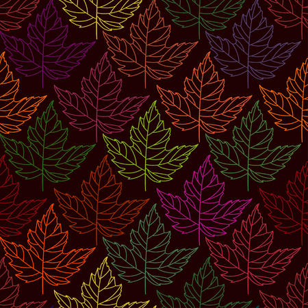 Autumn seamless stylized leaf pattern. Seamless decorative template texture with leaves. abstract seamless stylized pattern with leaves on a dark background 向量圖像