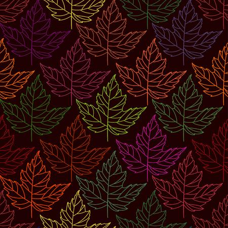 Herfst naadloze gestileerde blad patroon. Naadloze decoratieve malplaatjetextuur met bladeren. abstract naadloos gestileerd patroon met bladeren op een donkere achtergrond Stock Illustratie