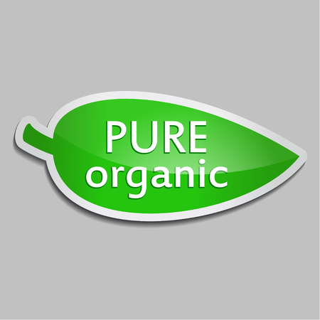 Green sticker Pure organic. Vector Natural product icon for packaging design, web-design, advertising booklets, Bio logo creation, natural product design. Organic natural cosmetic and food label. Illustration