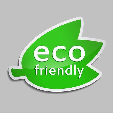 Groene sticker Eco-vriendelijk. Vectorbiologisch voedselpictogram voor verpakkingsontwerp, Web-ontwerp, reclameboekjes, het creëren van Bio-logo, natuurlijke productontwerp. Natuurlijk voedseletiket.