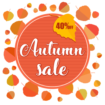Autumn sale banner with autumn leaves on white background. Vector illustration with colorful autumn leaves. Bright banner for autumn sale with colorful fall leaves. Fall discount sale, circle banner.