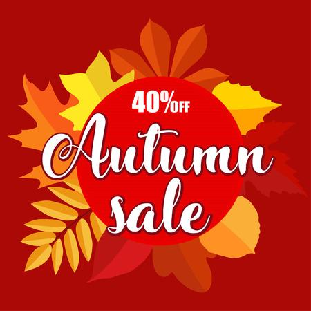 Herfst verkoop banner met herfst bladeren op rode achtergrond. Vectorillustratie met kleurrijke herfstbladeren. Heldere bannerverkoop met kleurrijke herfstbladeren. Val kortingsbon, cirkelbanner. Stock Illustratie
