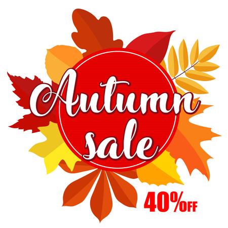 Herfst verkoop banner met herfst bladeren op witte achtergrond. Vectorillustratie met kleurrijke herfstbladeren. Heldere banner voor herfstverkoop met kleurrijke herfstbladeren. Val kortingsbon, cirkelbanner.