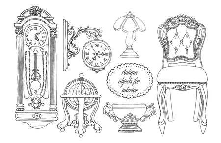 Retro meubelset. Hand getekend antiquair object collectie voor interieur. Living Room Furniture Home Interior Design Stock Illustratie