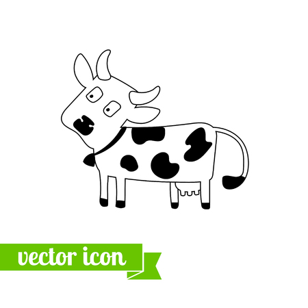 Koe pictogram vector, platte koe pictogram, pictogram voor webdesign, voorraad vector, logo, koe dicht omhoog, koe pictogram