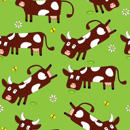 Vectorpatronen met leuke leuke koe en koehuidtextuur. Voor poster, print, wallpaper, banner. achtergronden met grazende koeien en koeienstippen Stock Illustratie