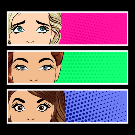 Pop art banner with female eyes and blank space for text. Cartoon beautiful woman eyes. Vintage advertising poster. Comic hand drawn vector illustration. 向量圖像