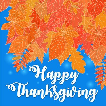 Platte ontwerpstijl Happy Thanksgiving Day logo, badge en pictogram. Happy Thanksgiving Day logo sjabloon. Thanksgiving day kaartsjabloon. Happy Thanksgiving-banner, vlieger. Vector illustratie Stock Illustratie