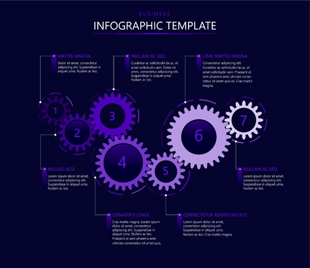 Infographic template with gears Stock Illustratie