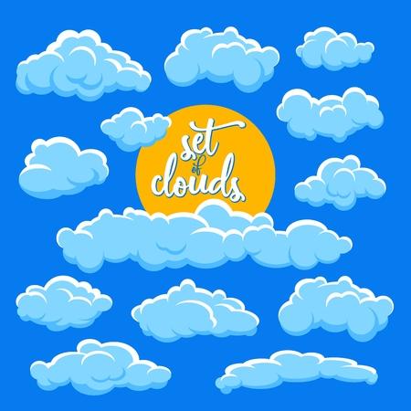 cartoon clouds and sun