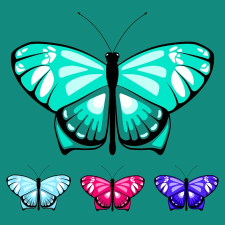 Watercolor vector butterfly set for children coloring book. Colors butterflies isolated on white background for colored sand picture. Pretty cartoon butterfly set for child.