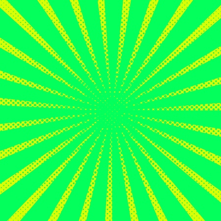 pop art style yellow and green background. Vector bright dynamic cartoon illustration. Abstract creative concept. Pop art style blank layout template with isolated dots pattern on background. illustration template design. Stock Illustratie