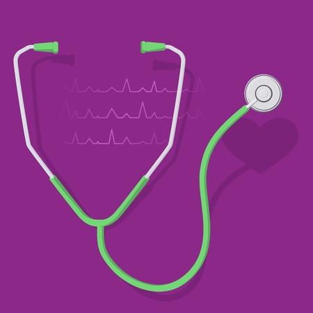 stethoscope and heart 2 Stock Illustratie