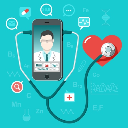 Vector illustration in flat style. online and tele medicine concept. Mobile phone with app for healthcare - online consultation with doctor. Online doctor oncept with smartphone, stethoscope and heart