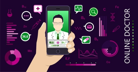 Vector illustration in flat style. tele medicine concept. Hand holding mobile phone with app for healthcare - online consultation with doctor. Online doctor concept with icons and Infographic elements