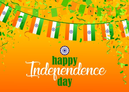 Indian Independence Day text and Ashoka Wheel on saffron and green color background. Vector illustration with flags, ribbon and confetti for Happy Independence Day celebration. design for 15th August.