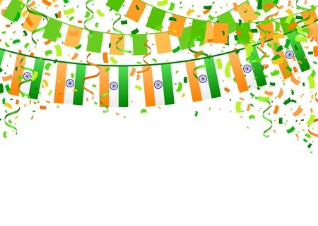 Indian Independence Day template on white background. Vector illustration with saffron and green flags, ribbon and confetti for Happy Independence Day celebration. design for 15th August.
