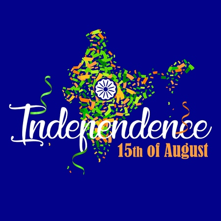 vector illustration map of India with saffron and green color confetti and Ashoka Whee for 15th August. Independence Day of India. Indian Independence Day celebrations with text, ribbons and confetti